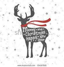 christmas deer christmas deer merry christmas happy new stock vector 334167920