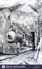 1920s line illustration of steam train emerging from tunnel stock