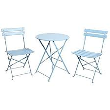 Indoor Bistro Table And Chairs Amazon Com Finnhomy 3 Piece Steel Folding Table And Chair Set W