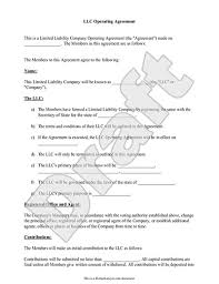llc operating agreement sample u0026 template