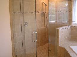 shower cabin with glass walls without frame with shower head and