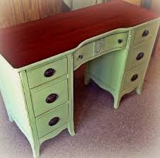 refurbished shabby chic desk painted on a light sage green and