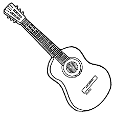 fantastic acoustic guitar sketches with coloring pages in guitar