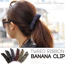 banana clip for hair sweet sheep rakuten global market banana clip ribbon tweed