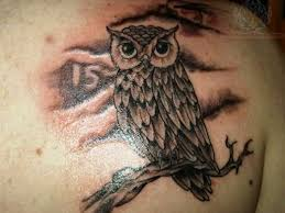 dark owl head tattoo on back shoulder photos pictures and