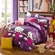 purple hello kitty bedding set and white rack for comfortable