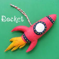 a red rocket felt christmas ornament pattern shiny happy world