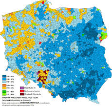 Map Poland Results Of The Polish Parliamentary Election 2015 Detailed Map