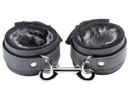 liberator barcelona fur lined grey leather ankle cuffs at km
