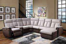 furniture two toned leather sectional furniture with recliner and