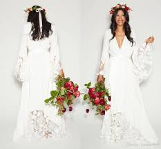 boho wedding dress plus size discount 2017 simple bohemian country wedding dresses v neck
