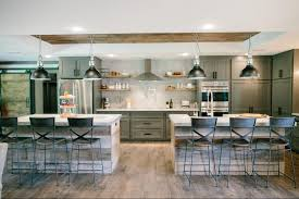kitchen with 2 islands backsplash two islands in kitchen fixer modern rustic