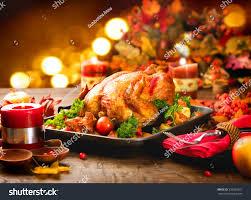 cooked turkey thanksgiving roasted turkey thanksgiving table served turkey stock photo