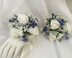 silk corsages 2 x silk wedding wrist corsage white blue flowers diamante