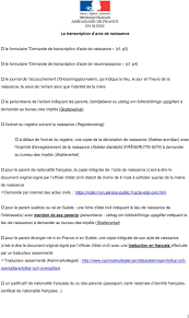bureau de l 騁at civil ambassade de en suede la transcription d acte de naissance