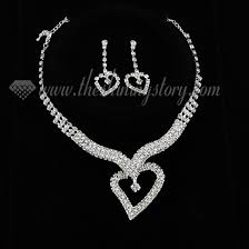 prom necklace wedding bridal prom rhinestone heart necklaces and earrings wholesale