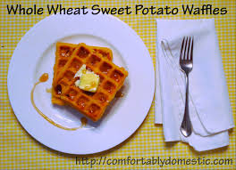 thanksgiving leftover idea whole wheat sweet potato waffles