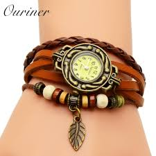 vintage bracelet watches images 2018 women watches leather bracelet watch woman dress vintage leaf jpg