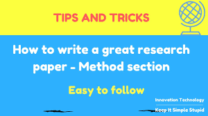 how to write a psychology paper how to write a great research paper method section youtube