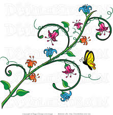 vine clipart butterfly flower pencil and in color vine clipart
