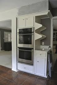 floating shelves in kitchen white wooden refrigerator door smooth