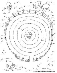 lamb circle coloring maze create a printout or activity