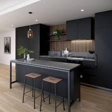 cuisine noir mat et bois cuisine cuisine avec refrigerateur noir cuisine avec at cuisine