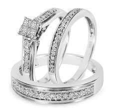 wedding trio sets 1 2 carat t w diamond trio matching wedding ring set 10k white gold