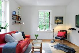 simple small living room interior design ideas with red sofa and