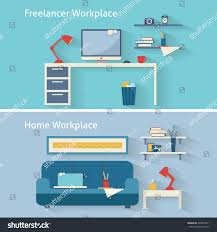 home workplace flat vector design workspace stock vector 239054011