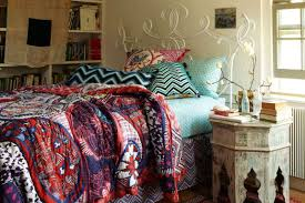 bohemian bedroom with moroccan nightstand and colorful quilted