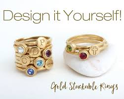 birthstone stackable rings for design your own gold stackable rings mix initial stack rings and