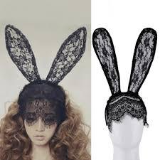 2017 women hair bands lace rabbit bunny ears veil black eye