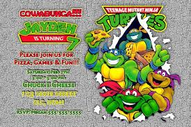 teenage mutant ninja turtles birthday invitation afoodaffair