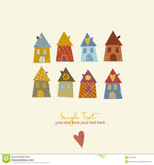 collection of cute houses in a whimsical childlike royalty free