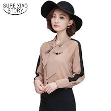 bow tie blouse 2017 fashion office ladys bow tie blouse sleeved