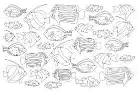 outlined coral fishes horizontal coloring page tropical fish