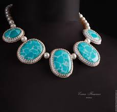 turquoise blue stone necklace images Blue choker maldives blue stones turquoise ocean white pearl jpg
