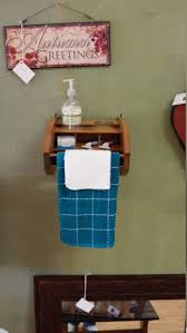 upcycled vintage esquire shoe shine box towel rack bar bathroom