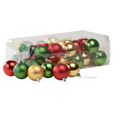 Homebase Blue Christmas Decorations by Traditional Multicoloured Baubles 36 Pack At Homebase Co Uk