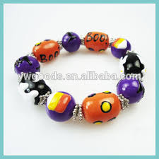 wholesale halloween galss beads with brushwork halloween stretch