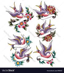 swallow rose tattoo set royalty free vector image