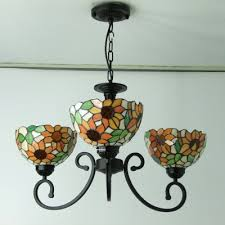 Country Style Chandelier Three Lights Sunflower Motif Country Style Chandelier