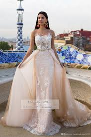cheap champagne lace wedding dresses with detachable skirt