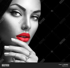 beauty fashion black and white woman face portrait with perfect