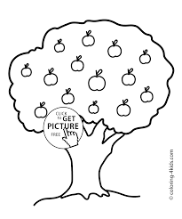 apple tree coloring page for kids printable free