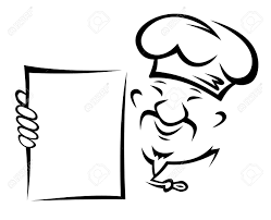 chinese chef with blank menu paper for asian restaurant design