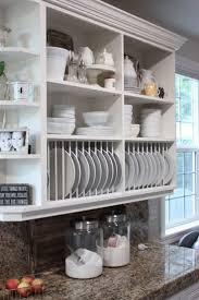 Kitchen Shelf Rack Long Wooden Dining Table Textured Subway Tile