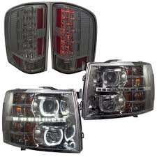 2011 chevy silverado smoked tail lights 2011 chevy silverado 3500hd smoked halo drl projector headlights and