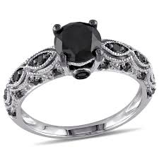 black diamond wedding set 1 25 carat t w black diamond 10 k white gold engagement ring